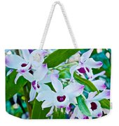 White And Purple Orchids In Greenhouse At Pilgrim Place In Claremont-california Weekender Tote Bag