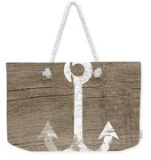 White And Wood Anchor- Art By Linda Woods Weekender Tote Bag