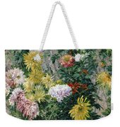 White And Yellow Chrysanthemums Weekender Tote Bag by Gustave Caillebotte