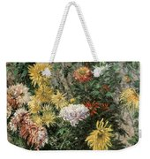 White And Yellow Chrysanthemums In The Garden At Petit Gennevilliers Weekender Tote Bag