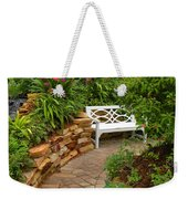 White Bench In The Garden Weekender Tote Bag