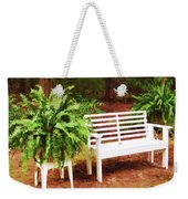 White Bench Sitting In A Beautiful Garden 2 Weekender Tote Bag