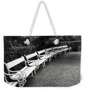 White Benches-  By Linda Wood Woods Weekender Tote Bag
