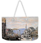 White Boat In Peggys Cove Nova Scotia Weekender Tote Bag