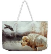 White Buffalo And Raven Weekender Tote Bag