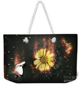 White Butterfly And Yellow Flower Weekender Tote Bag