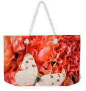 White Butterfly On Pink Carnations Weekender Tote Bag