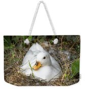 White Call Duck Sitting On Eggs In Her Nest Weekender Tote Bag