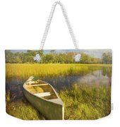White Canoe Textured Painting Weekender Tote Bag