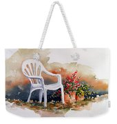 White Chair With Flower Pots Weekender Tote Bag