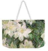 White Clematis Weekender Tote Bag by Claude Monet