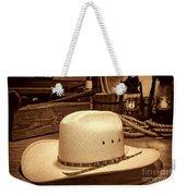 White Cowboy Hat In A Barn Weekender Tote Bag