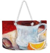 White Cup With Lemon Wedge And Spoon Grace Venditti Montreal Art Weekender Tote Bag