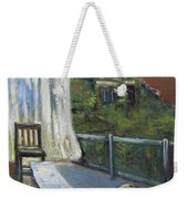 White Curtain View Weekender Tote Bag