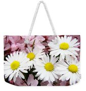 White Daisies Flowers Art Prints Spring Pink Blossoms Baslee Weekender Tote Bag