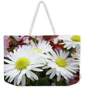 White Daisy Floral Art Print Canvas Pink Blossom Baslee Troutman Weekender Tote Bag