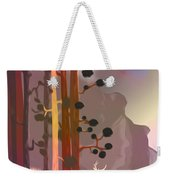 White Deer Climbing Mountains - Abstract And Colorful Forest Weekender Tote Bag