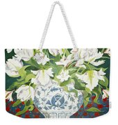 White Double Tulips And Alstroemerias Weekender Tote Bag