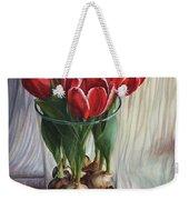White-edged Red Tulips Weekender Tote Bag