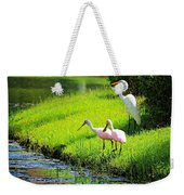 White Egret And Roseate Spoonbills Weekender Tote Bag