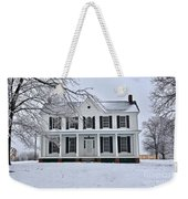 White Farm House During Winter Weekender Tote Bag