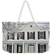 White Farm House In Winter Weekender Tote Bag