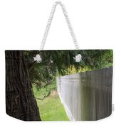 White Fence And Tree Weekender Tote Bag by Tom Singleton