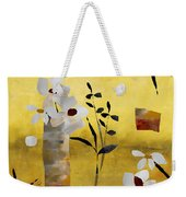 White Floral Collage Weekender Tote Bag