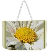 White Flower Abstract With Border Weekender Tote Bag