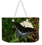 White Flowered Butterfly Weekender Tote Bag
