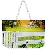 White Gate Cat Weekender Tote Bag