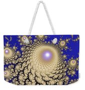 White Gold Opalescent Fractal Swirl Abstraction Weekender Tote Bag