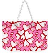 White Hearts - Valentines Pattern Weekender Tote Bag