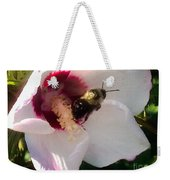 White Hibiscus Bloom With Bumble Bee Weekender Tote Bag