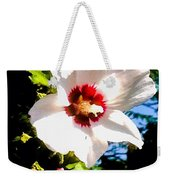 White Hibiscus High Above In Shadows Weekender Tote Bag