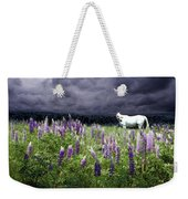 White Horse In A Lupine Storm Weekender Tote Bag