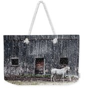 White Horse In A Snowstorm  Weekender Tote Bag