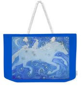 White Horse With Rabbits Weekender Tote Bag