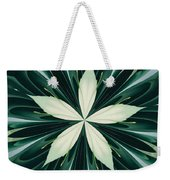 White Leaves In A Green Forest Kaleidoscope Weekender Tote Bag