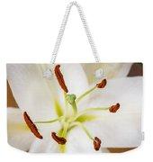 White Lily Macro Weekender Tote Bag