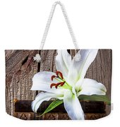 White Lily On Antique Books Weekender Tote Bag