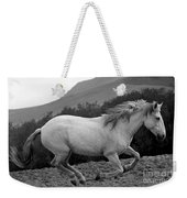 White Mare Gallops #1 -  Close Up Black And White Weekender Tote Bag