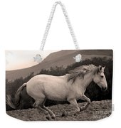 White Mare Gallops #1 -  Close Up Sepia Weekender Tote Bag