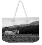 White Mare Gallops #1 - Panoramic Black And White Weekender Tote Bag