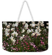 White Narcissus With Pink English Daisies In A Spring Garden Weekender Tote Bag
