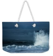 White On Blue Explosion Weekender Tote Bag