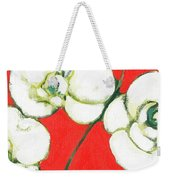 White Orchid Weekender Tote Bag by Jennifer Lommers