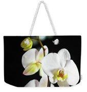 White Orchid On Black Bw Weekender Tote Bag