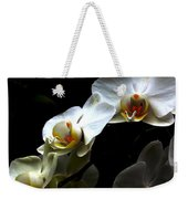 White Orchid With Dark Background Weekender Tote Bag