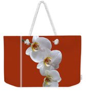 White Orchids On Terracotta Vdertical Weekender Tote Bag